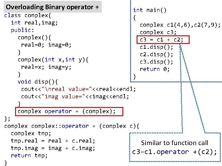 Overloading Binary operator + int main() { complex c 1(4, 6), c 2(7, 9);