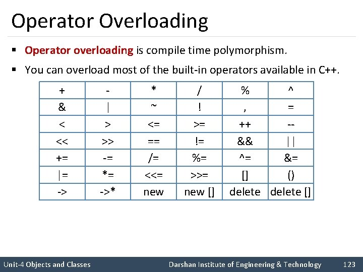 Operator Overloading § Operator overloading is compile time polymorphism. § You can overload most