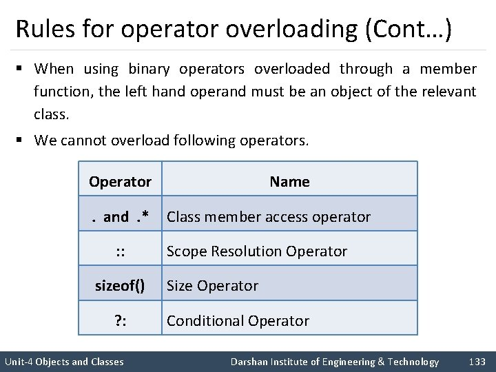 Rules for operator overloading (Cont…) § When using binary operators overloaded through a member