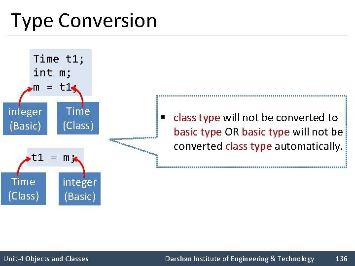 Type Conversion Time t 1; int m; m = t 1; integer (Basic) Time
