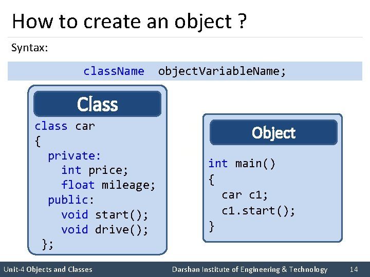 How to create an object ? Syntax: class. Name object. Variable. Name; Class I