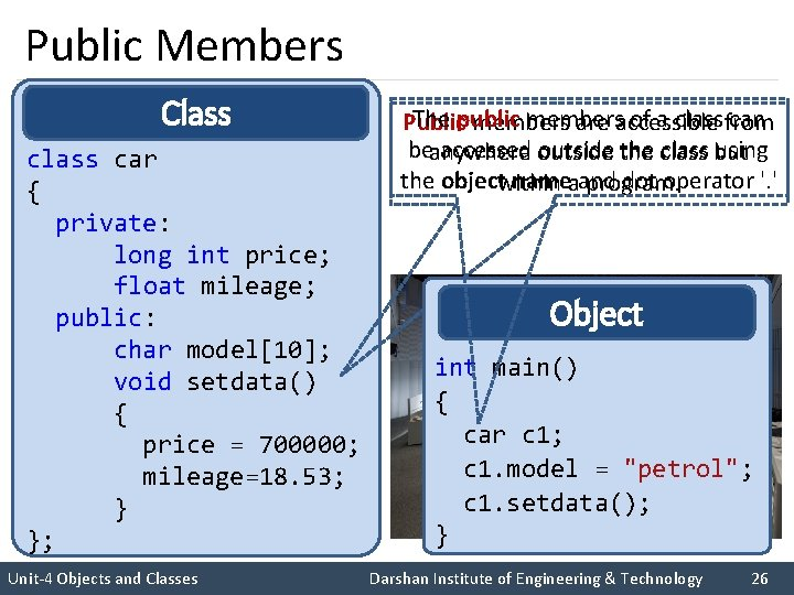 Public Members Class car { private: long int price; float mileage; public: char model[10];