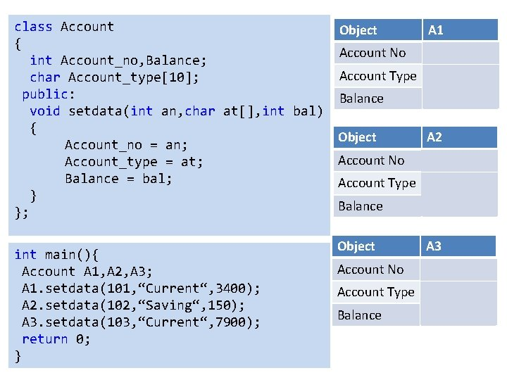 class Account { int Account_no, Balance; char Account_type[10]; public: void setdata(int an, char at[],