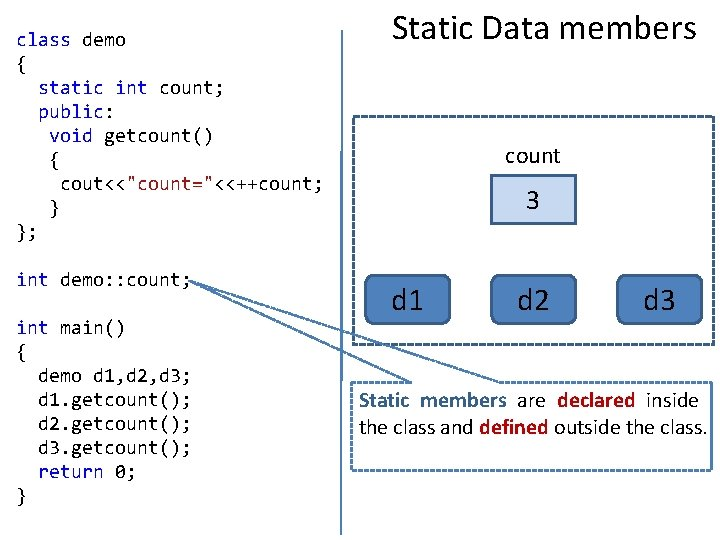 """class demo { static int count; public: void getcount() { cout<<""""count=""""<<++count; } }; int"""
