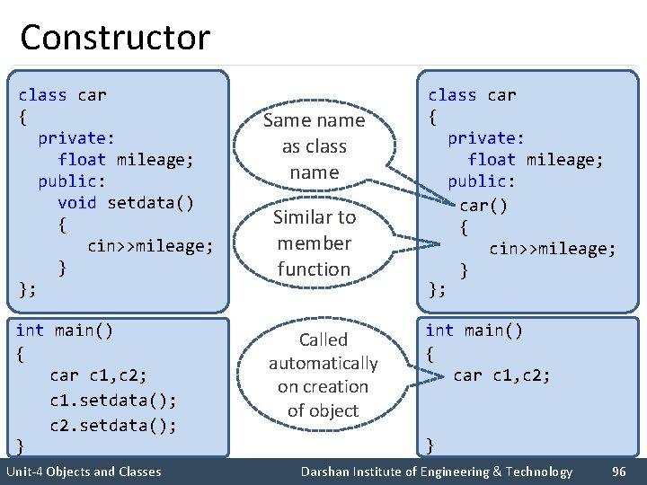 Constructor class car { private: float mileage; public: void setdata() { cin>>mileage; } };