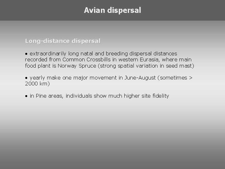 Avian dispersal Long-distance dispersal • extraordinarily long natal and breeding dispersal distances recorded from