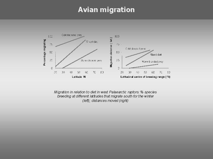 Avian migration Migration in relation to diet in west Palaearctic raptors: % species breeding