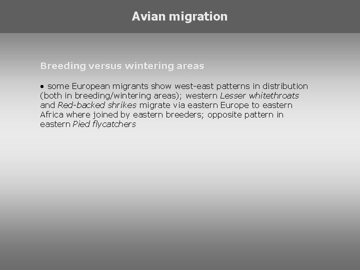 Avian migration Breeding versus wintering areas • some European migrants show west-east patterns in