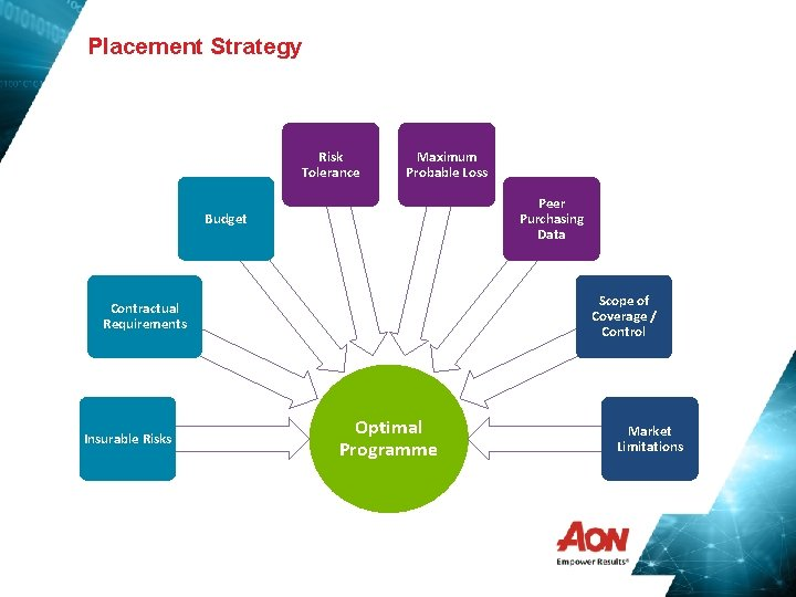 Placement Strategy Risk Tolerance Maximum Probable Loss Peer Purchasing Data Budget Scope of Coverage