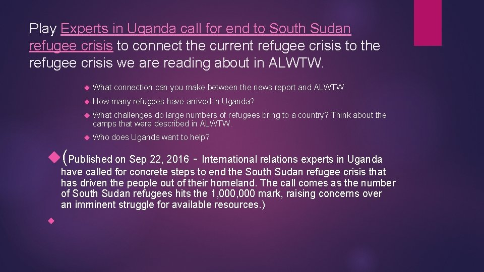 Play Experts in Uganda call for end to South Sudan refugee crisis to connect