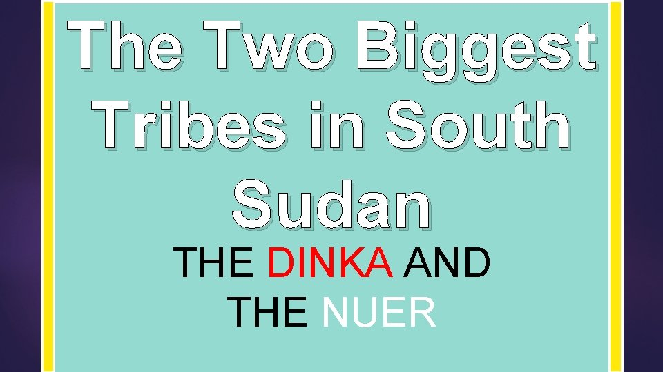 The Two Biggest Tribes in South Sudan THE DINKA AND THE NUER