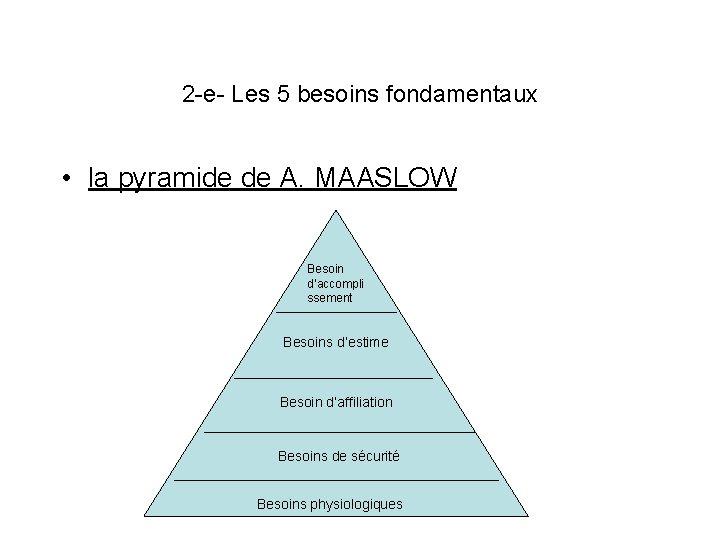 2 -e- Les 5 besoins fondamentaux • la pyramide de A. MAASLOW Besoin d'accompli