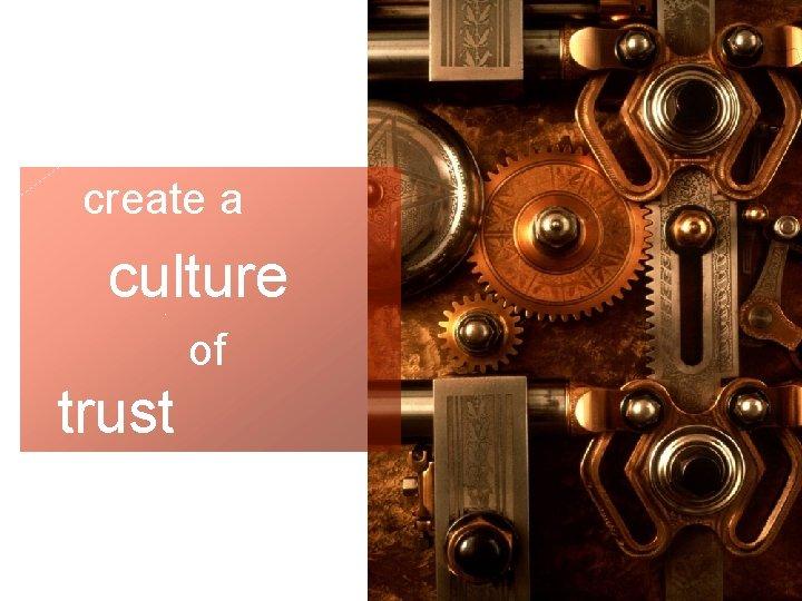 Trust create a culture of trust