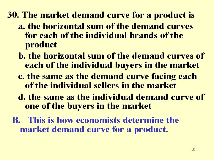 30. The market demand curve for a product is a. the horizontal sum of