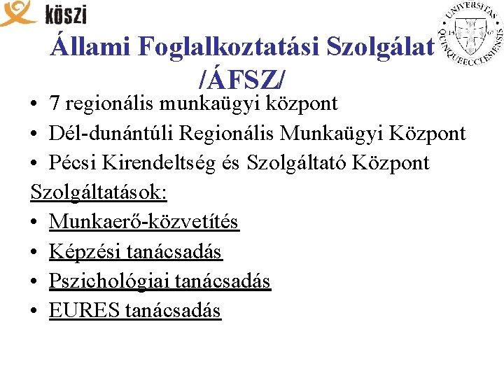 Állami Foglalkoztatási Szolgálat /ÁFSZ/ • 7 regionális munkaügyi központ • Dél-dunántúli Regionális Munkaügyi Központ
