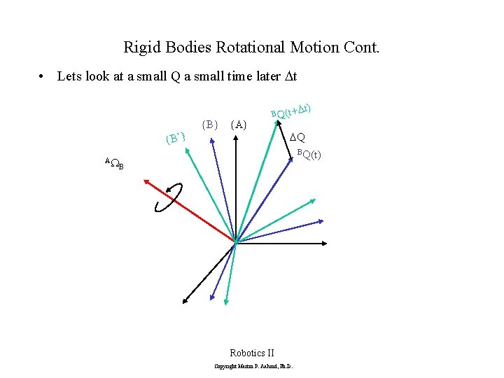Rigid Bodies Rotational Motion Cont. • Lets look at a small Q a small