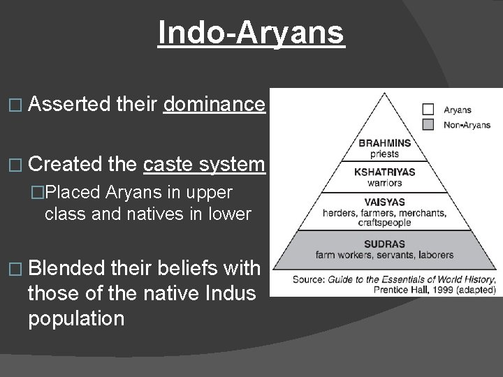 Indo-Aryans � Asserted � Created their dominance the caste system �Placed Aryans in upper