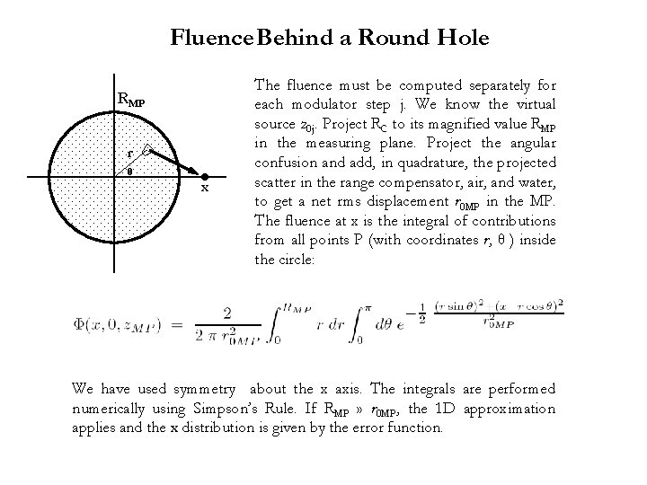 Fluence Behind a Round Hole RMP r θ ● x The fluence must be