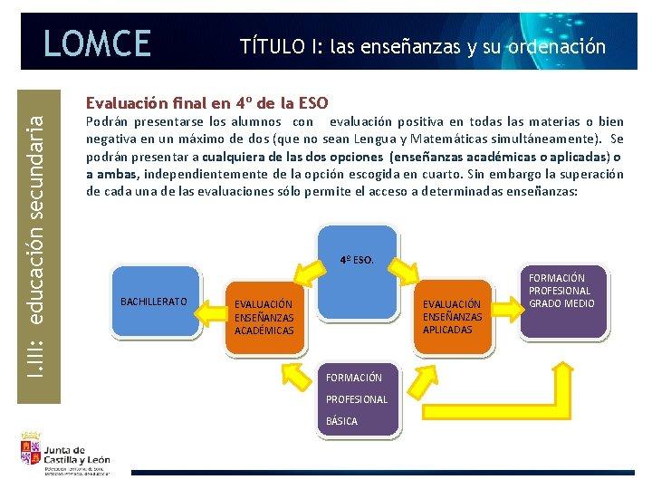 LOMCE TÍTULO I: las enseñanzas y su ordenación I. III: educación secundaria Evaluación final