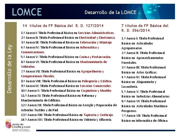 LOMCE Desarrollo de la Ley 14 títulos de FP Básica del R. D. 127/2014