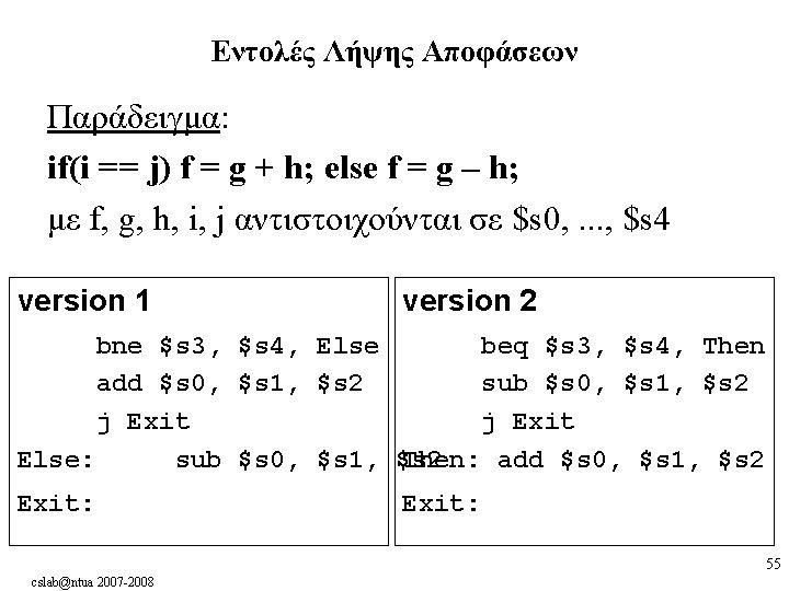 Εντολές Λήψης Αποφάσεων Παράδειγμα: if(i == j) f = g + h; else f