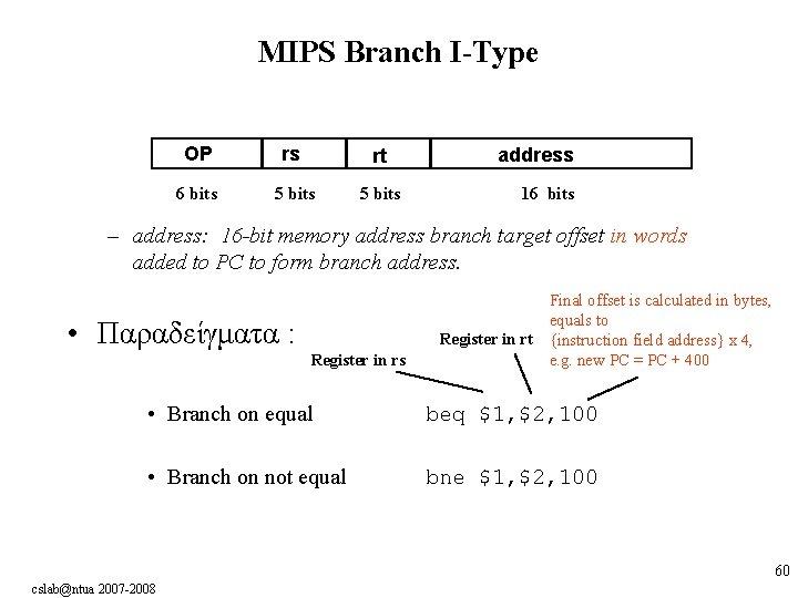 MIPS Branch I-Type OP rs rt 6 bits 5 bits address 16 bits –