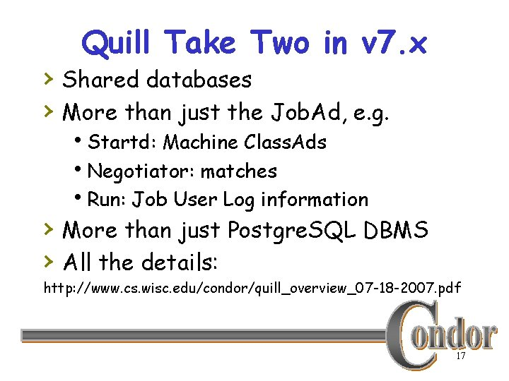 Quill Take Two in v 7. x › Shared databases › More than just