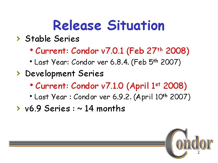 Release Situation › Stable Series h. Current: Condor v 7. 0. 1 (Feb 27