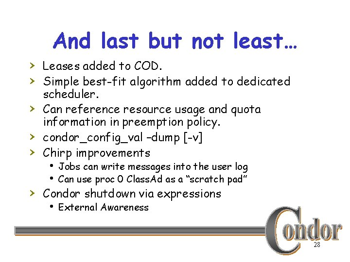 And last but not least… › Leases added to COD. › Simple best-fit algorithm