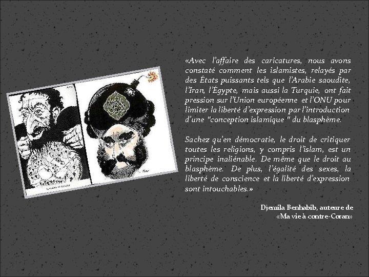 «Avec l'affaire des caricatures, nous avons constaté comment les islamistes, relayés par des