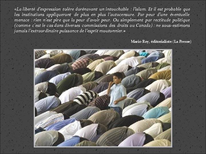 «La liberté d'expression tolère dorénavant un intouchable : l'islam. Et il est probable