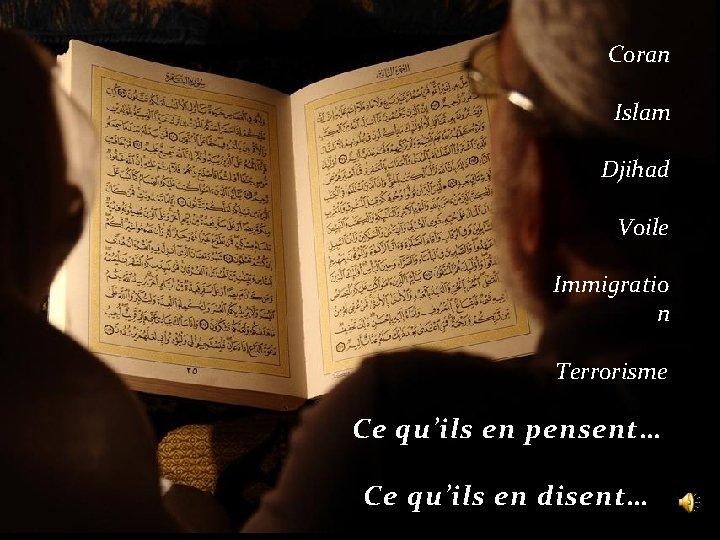 Coran Islam Djihad Voile Immigratio n Terrorisme Ce qu'ils en pensent… Ce qu'ils en