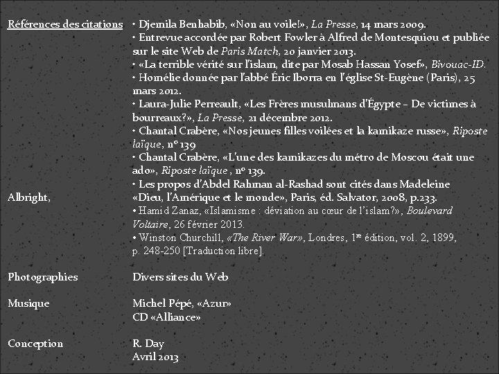 Références des citations • Djemila Benhabib, «Non au voile!» , La Presse, 14 mars