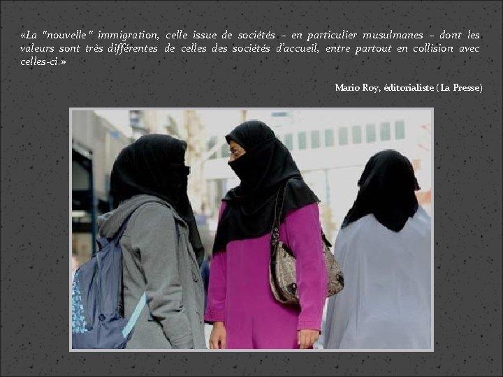 """«La """"nouvelle """" immigration, celle issue de sociétés – en particulier musulmanes –"""