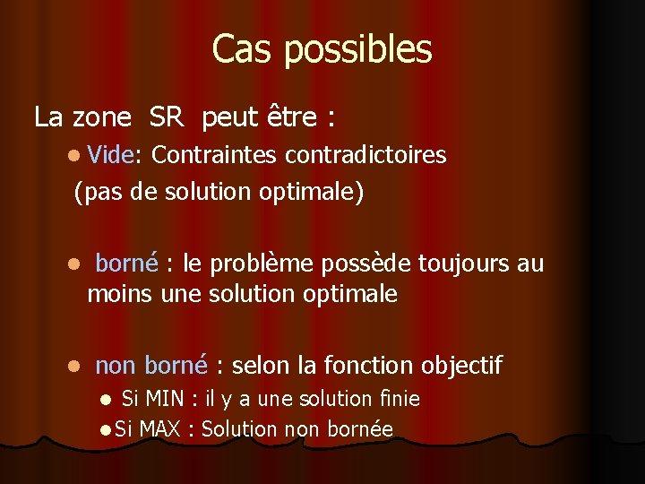 Cas possibles La zone SR peut être : l Vide: Contraintes contradictoires (pas de