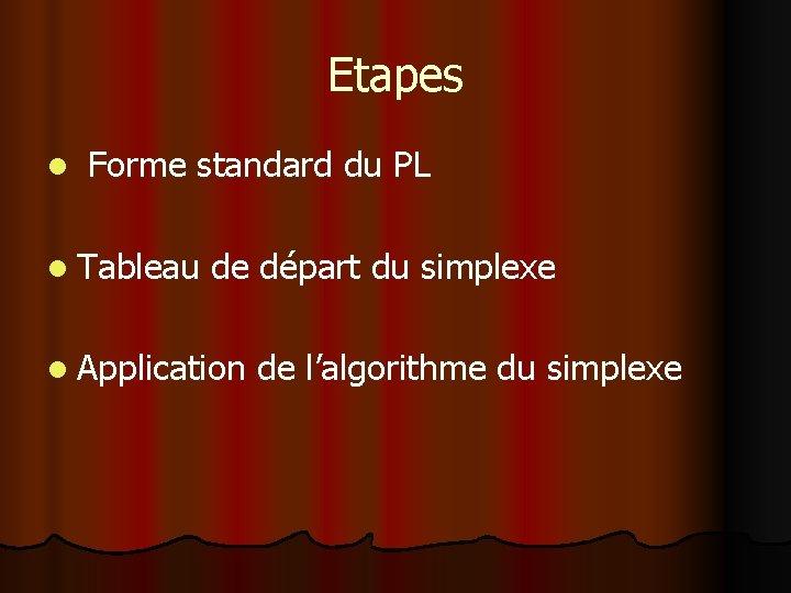 Etapes l Forme standard du PL l Tableau de départ du simplexe l Application