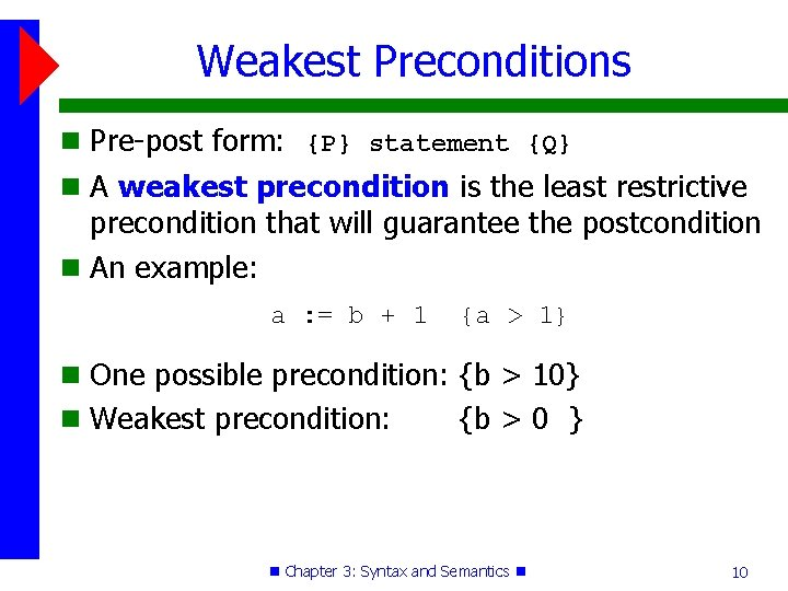 Weakest Preconditions Pre-post form: {P} statement {Q} A weakest precondition is the least restrictive