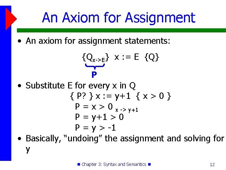 An Axiom for Assignment • An axiom for assignment statements: {Qx->E} x : =