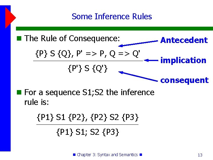 Some Inference Rules The Rule of Consequence: {P} S {Q}, P' => P, Q