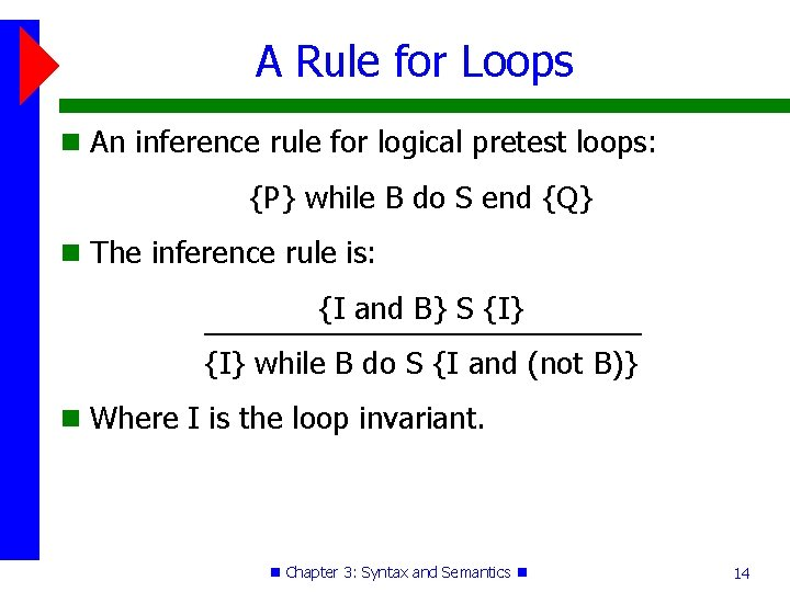 A Rule for Loops An inference rule for logical pretest loops: {P} while B