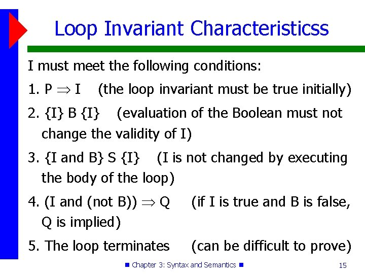 Loop Invariant Characteristicss I must meet the following conditions: 1. P I (the loop