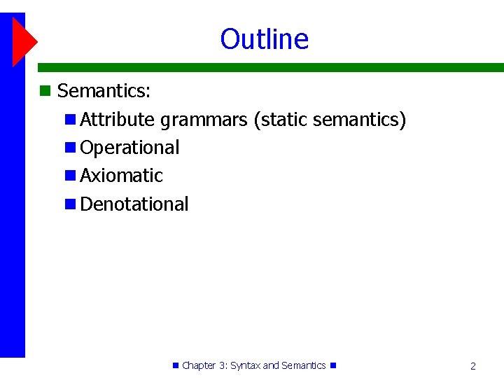 Outline Semantics: Attribute grammars (static semantics) Operational Axiomatic Denotational Chapter 3: Syntax and Semantics