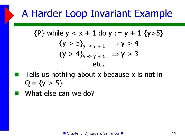 A Harder Loop Invariant Example {P} while y < x + 1 do y