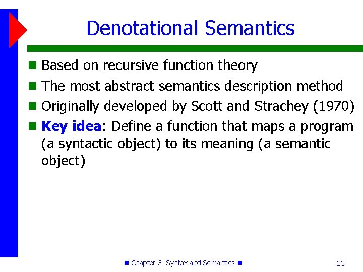 Denotational Semantics Based on recursive function theory The most abstract semantics description method Originally