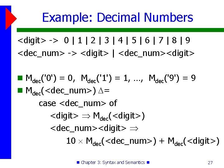Example: Decimal Numbers <digit> -> 0 | 1 | 2 | 3 | 4