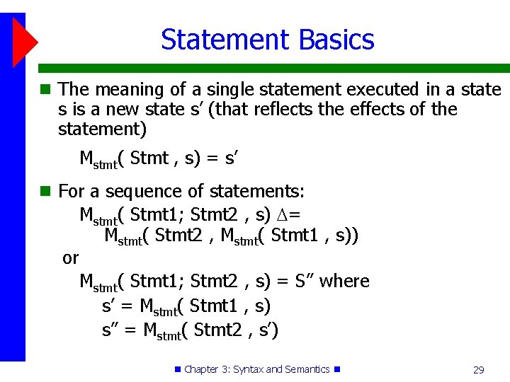 Statement Basics The meaning of a single statement executed in a state s is