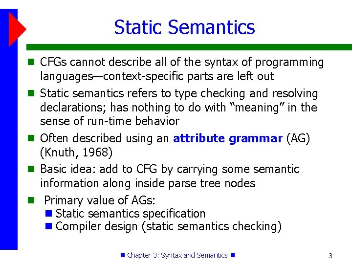 Static Semantics CFGs cannot describe all of the syntax of programming languages—context-specific parts are
