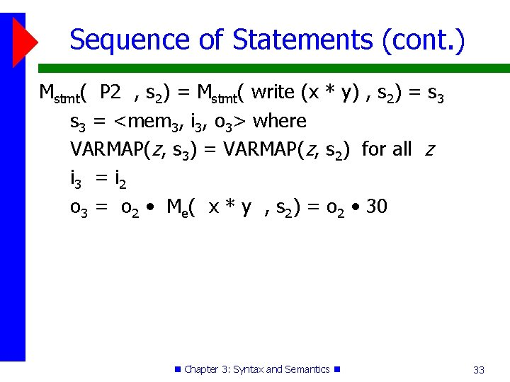 Sequence of Statements (cont. ) Mstmt( P 2 , s 2) = Mstmt( write