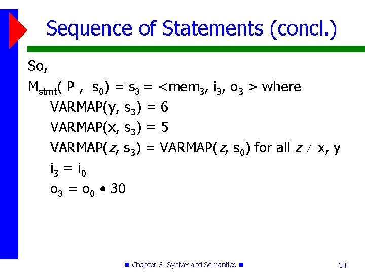 Sequence of Statements (concl. ) So, Mstmt( P , s 0) = s 3