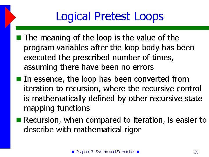 Logical Pretest Loops The meaning of the loop is the value of the program